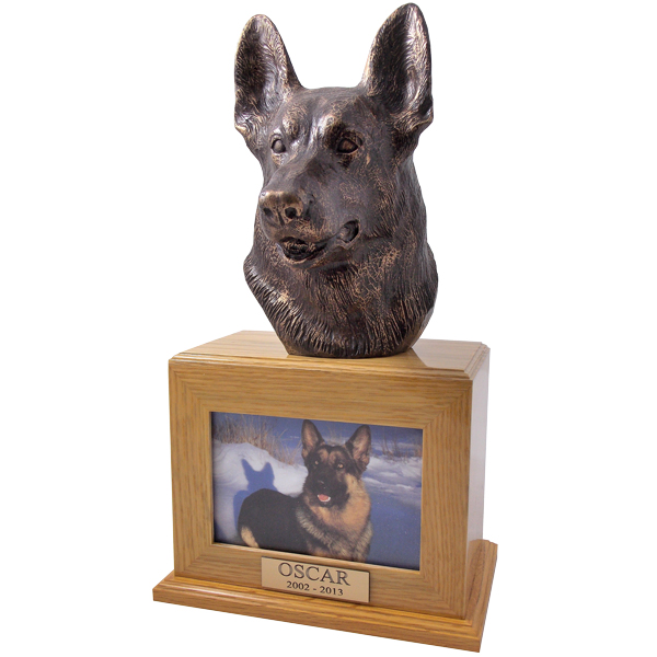 German Shepherd Urn in Oak
